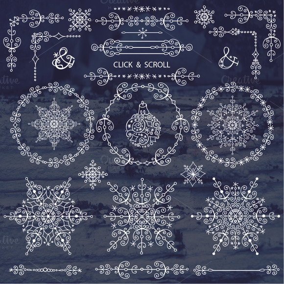 Winter Borders Wreath Snowlakes