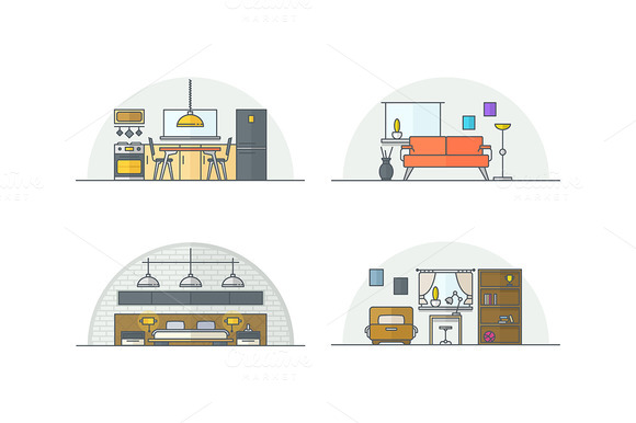 Interior Design Line Illustrations
