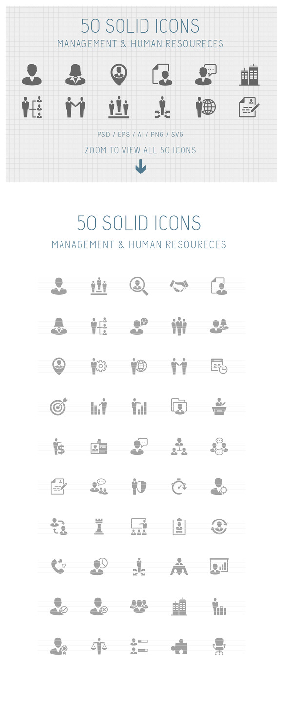 50 Management Solid Icons