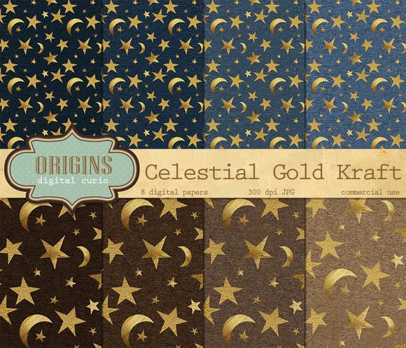 Celestial Gold Kraft Backgrounds