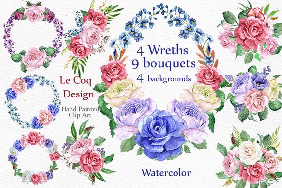 Watercolor Wreaths Clip Art