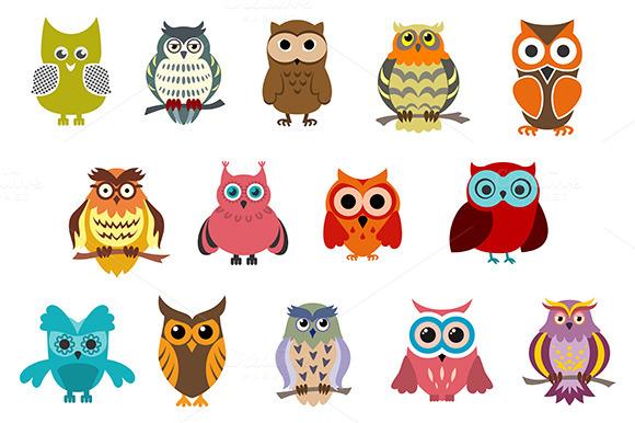 Cartoon Cute Owl Birds