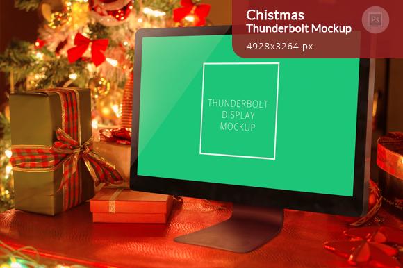 Christmas Thunderbolt Display Mockup