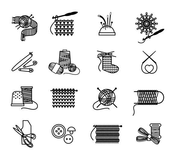 Emoji Knitting Needles : Knitting emoji icons � designtube creative design content
