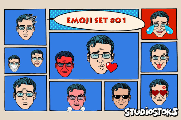 Set Retro Emoji 11 Emotions Men