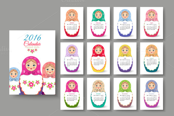 Calendar With Nested Dolls 2016