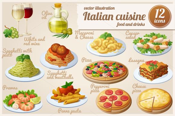 Italian Food Cartoon Vector Icons