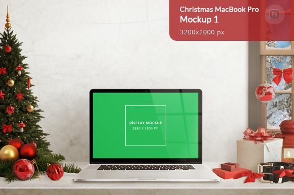 Christmas MacBook Pro Mockup 1