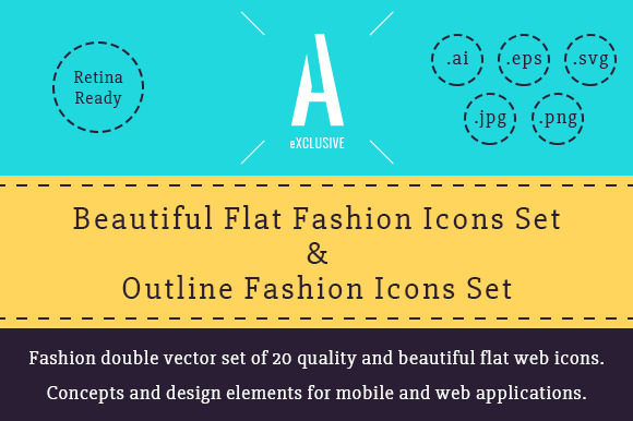 Fashion Flat Outline Icons