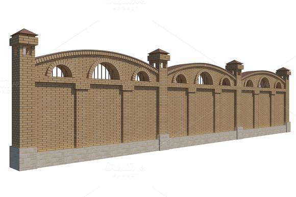 3D Illustration Of A Brick Fence
