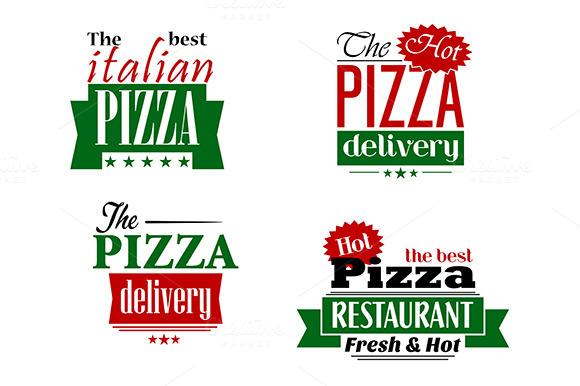 Italian Pizza Restaurant Logo Label