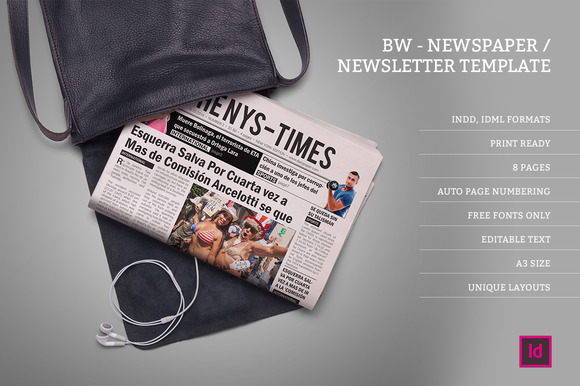 BW Newspaper Newsletter Template