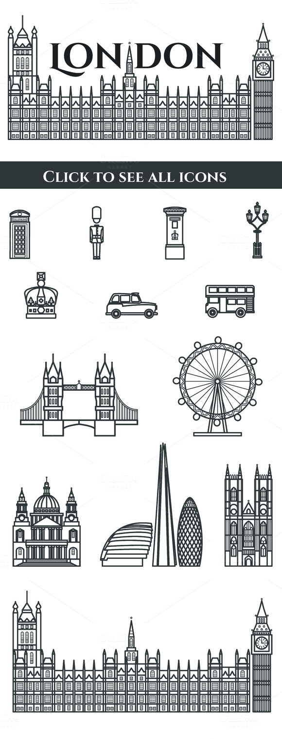 London Outline Vector Icons