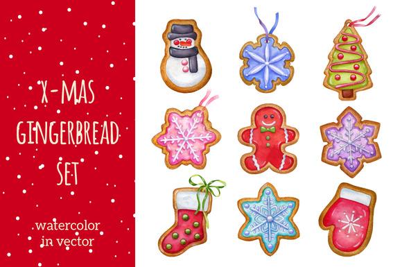 Gingerbread Watercolor In Vector