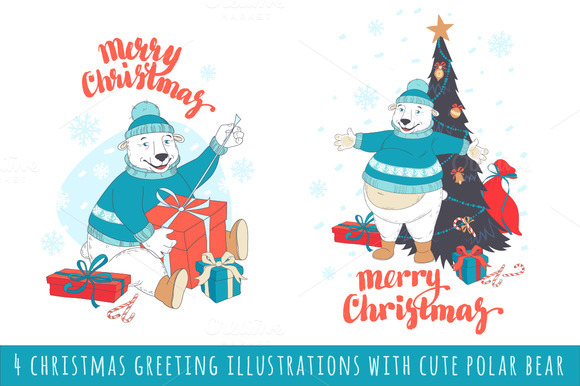 4 Christmas Greeting Illustrations
