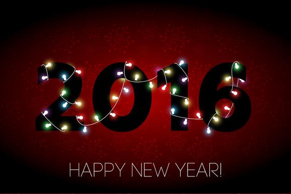 2016 Happy New Year Banner Vector