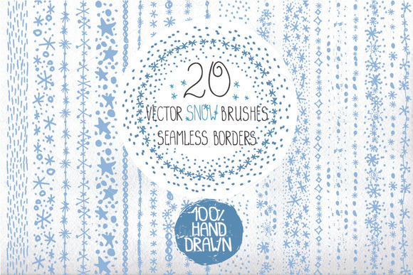 Hand Drawn Snow Borders Brushes