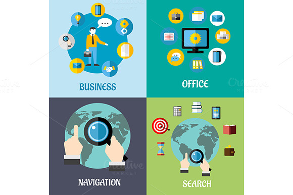 Navigation Search And Business Flat