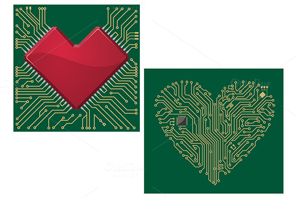 Computer Motherboard With Heart