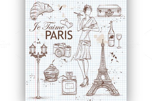 Paris Set On Note Book Page