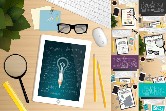 Office Desk Table Top View Vector