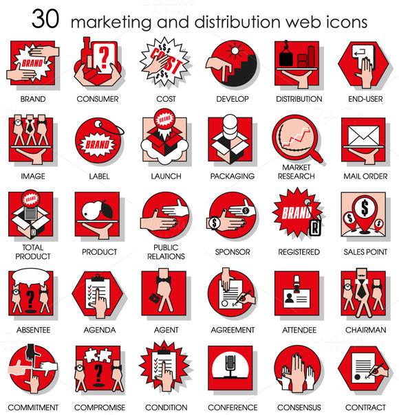 Thirty Line Icons Set Of Marketing