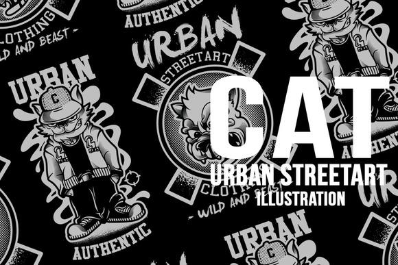 CAT STREETART ILLUSTRATION