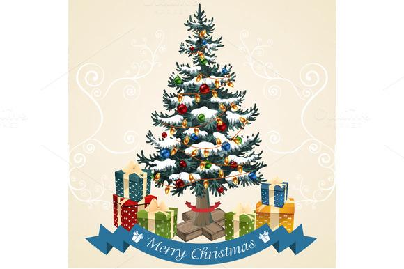Christmas Tree With Balls Garland