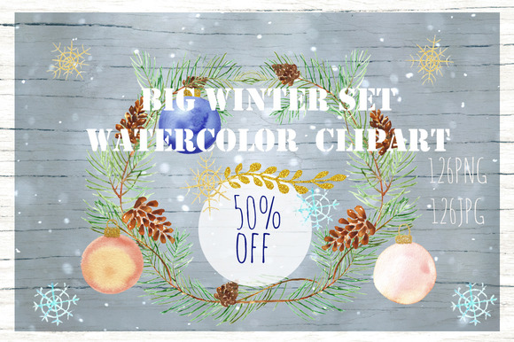 50%off Winter Christmas Watercolor