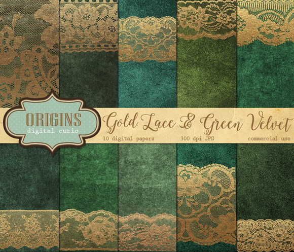 Gold Lace Green Velvet Backgrounds