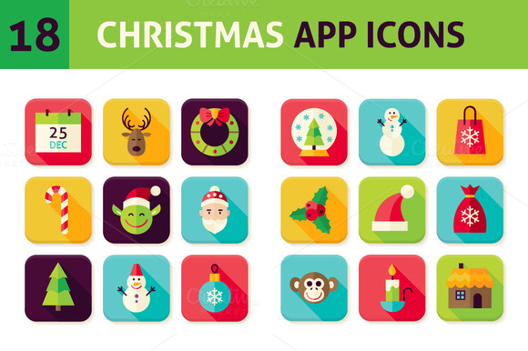 Christmas Vector Flat App Icons