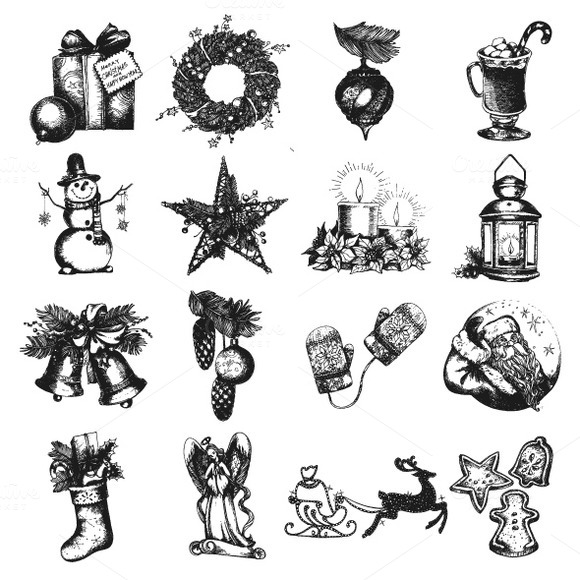 Set Of Christmas Hand Drawn Objects