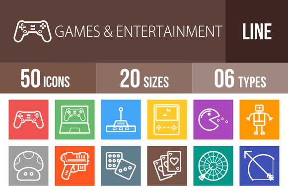 50 Games Line Multicolor Icons