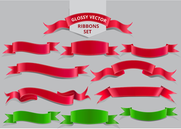 Realistic Glossy Vector Ribbons Set