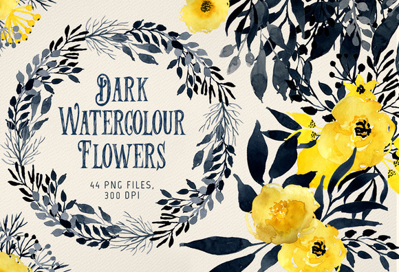 Dark Watercolour Flowers
