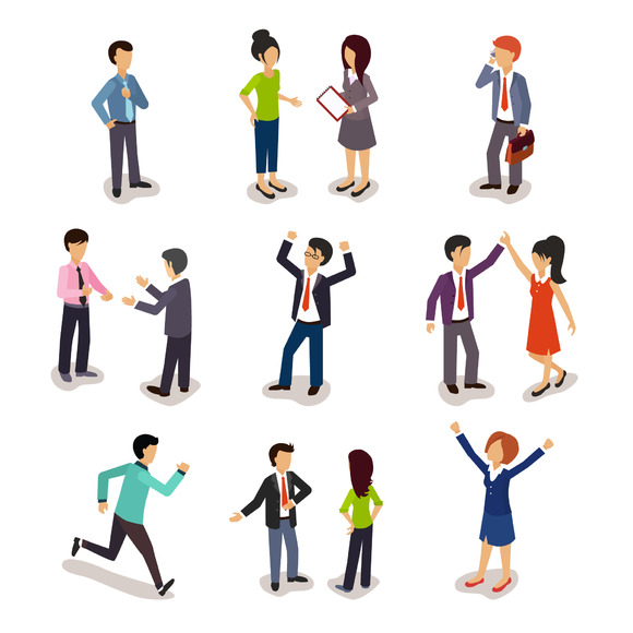 Several People Isometric 3D Vector