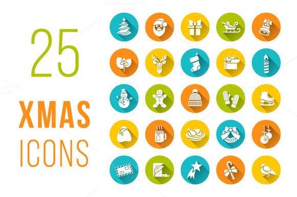 Christmas Symbols Flat Vector Icons