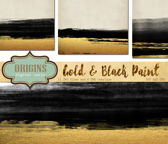 Gold And Black Paint Overlays
