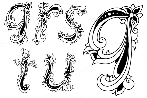Floral Alphabet Letters In Retro Sty