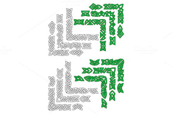 Green And Outline Celtic Frame Borde