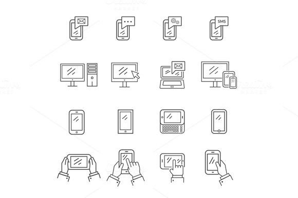 Icons Modern Technology Communicatio