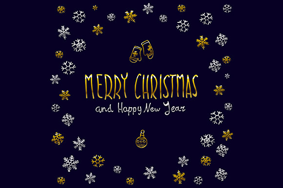 Merry Christmas Happy New Year Snow