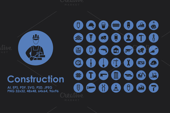 Set Of Construction Simple Icons