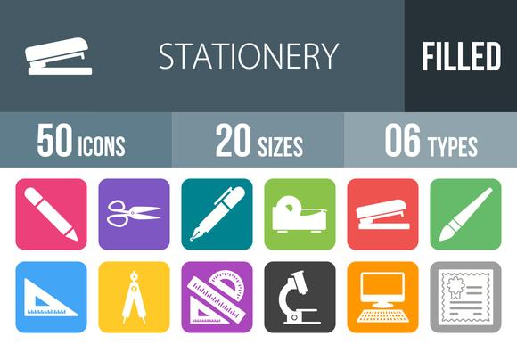 50 Stationery Flat RoundCorner Icons