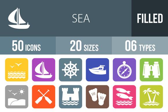 50 Sea Flat Round Corner Icons