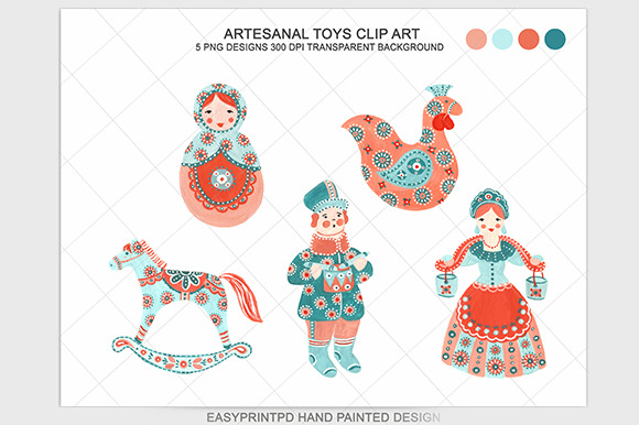 Folk Art Artesanal Toys Clip Art