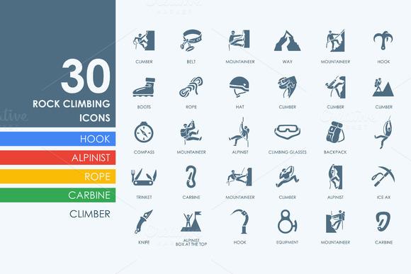 30 Rock Climbing Icons