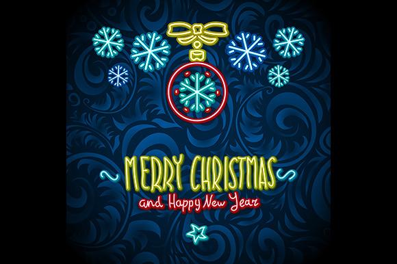 Neon Merry Christmas Happy New Year