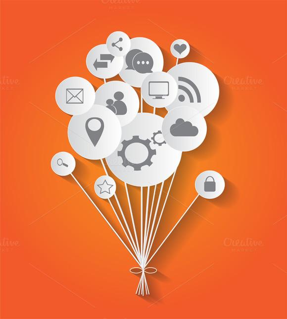 Social Media Icons In Balloons