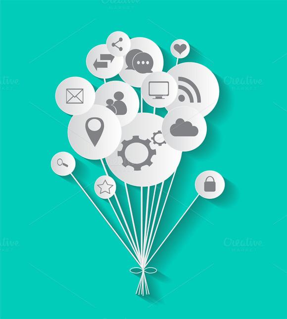 Flat Social Media Icons In Balloons
